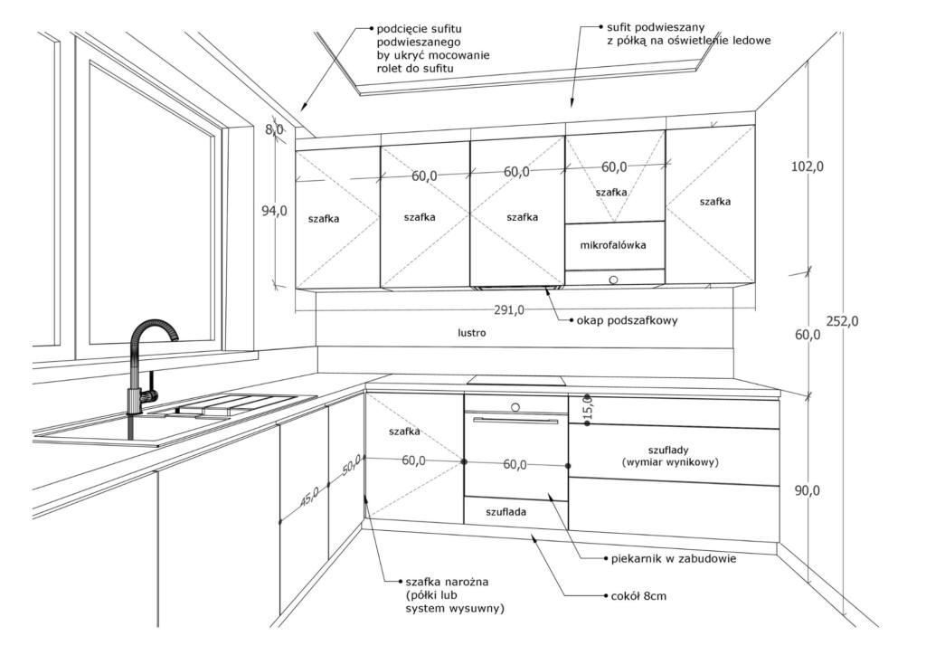 oferta cenowa pakiety widok 3d kuchni z wymiarami