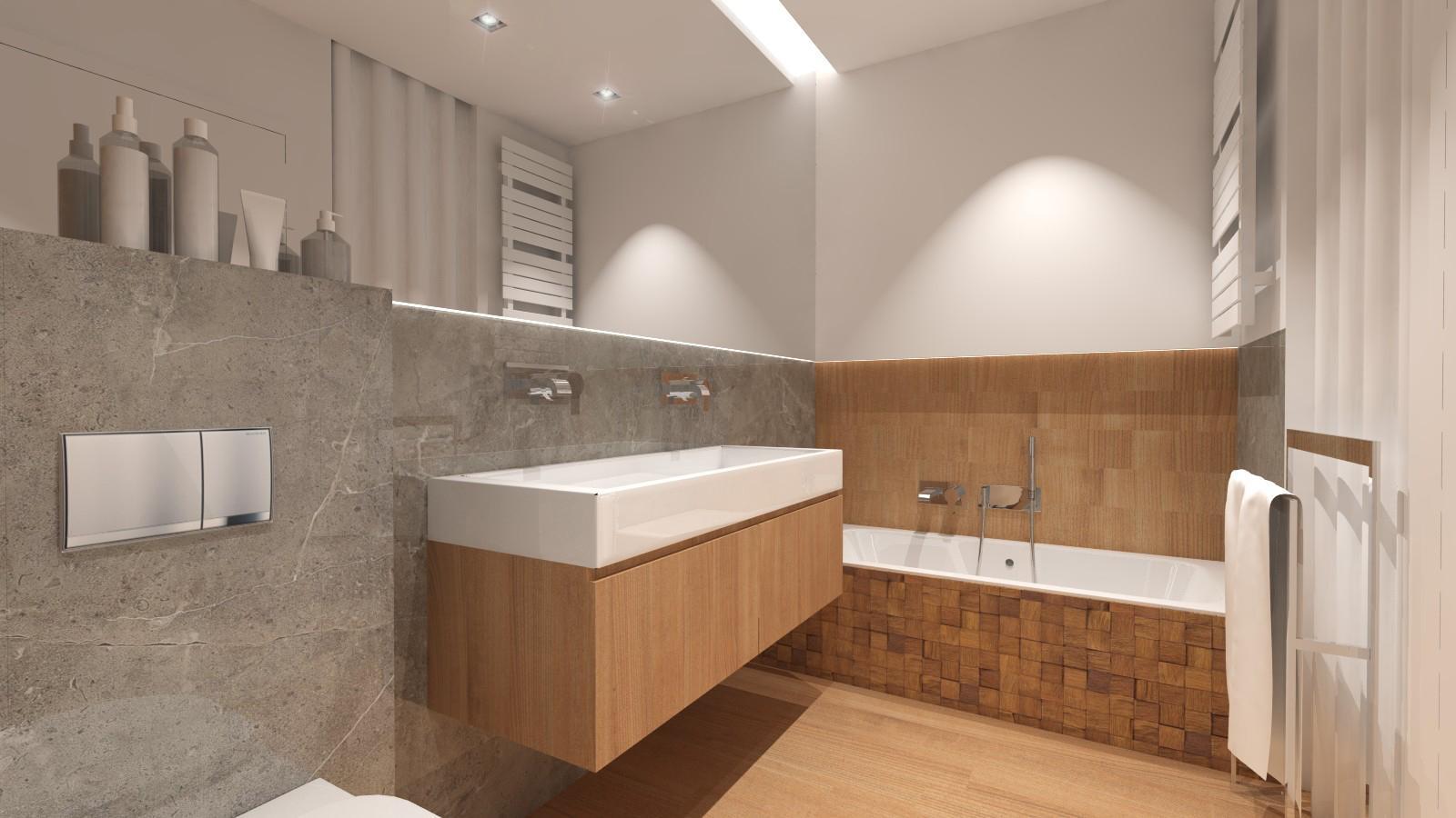 nowoczesna łazienka w naturalnych kolorach, wanna zabudowana z mozaiką drewnianą, gres imitujący kamień, sufit podświetlany, lustro na całej długości łazienki