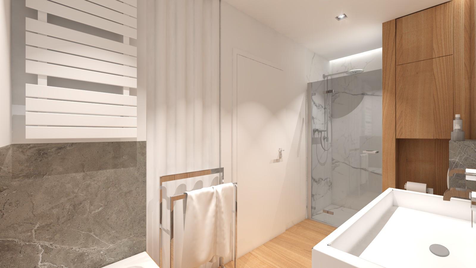 miejsce w łazience na pralkę i suszarkę za zasłoną