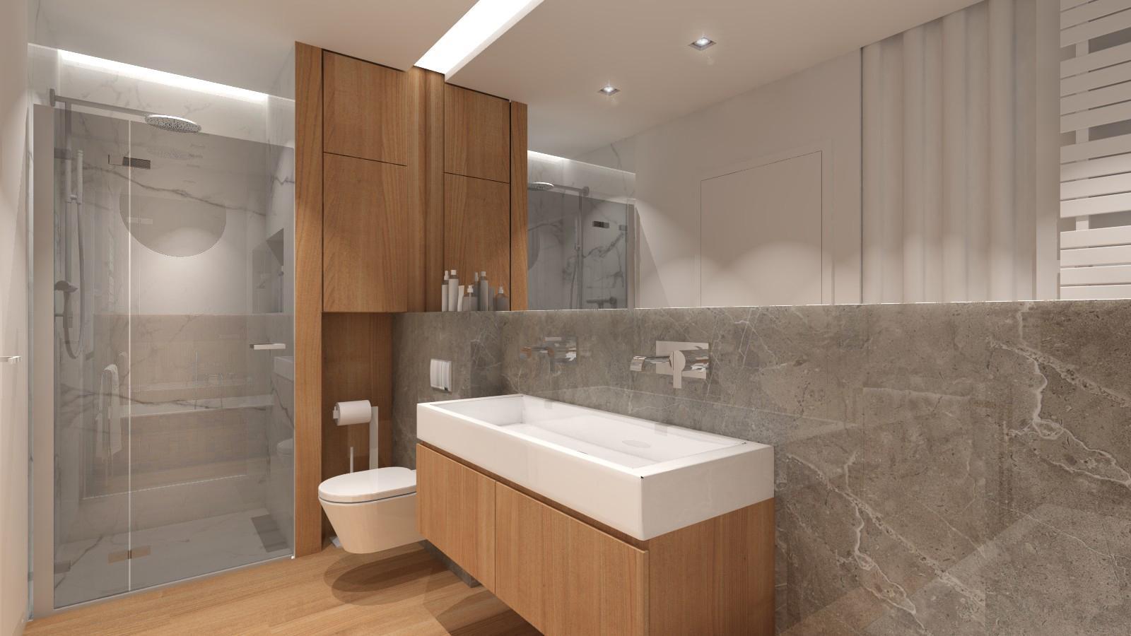 nowoczesna łazienka w naturalnych kolorach, wanna zabudowana z mozaiką drewnianą, gres imitujący kamień, sufit podświetlany, lustro na całej długości łazienki, prysznic walk-in