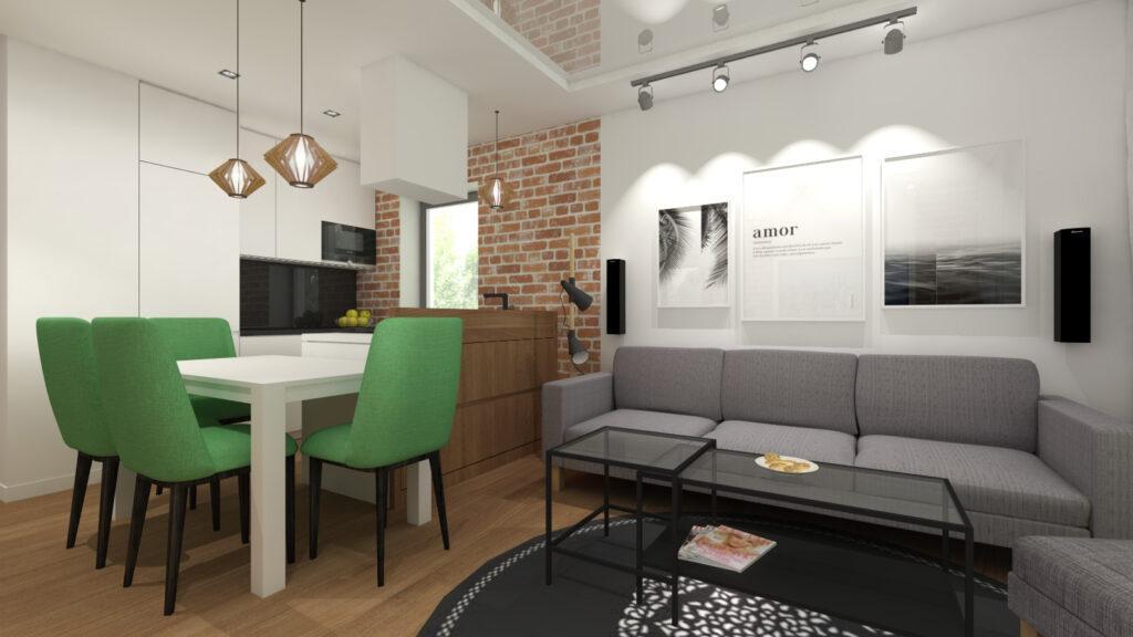 wizualizacja nowoczesnego salonu z aneksem kuchennym, z szarą kanapą, stołem z zielonymi krzesłami, cegłą na ścianie i białym sufitem napinanym