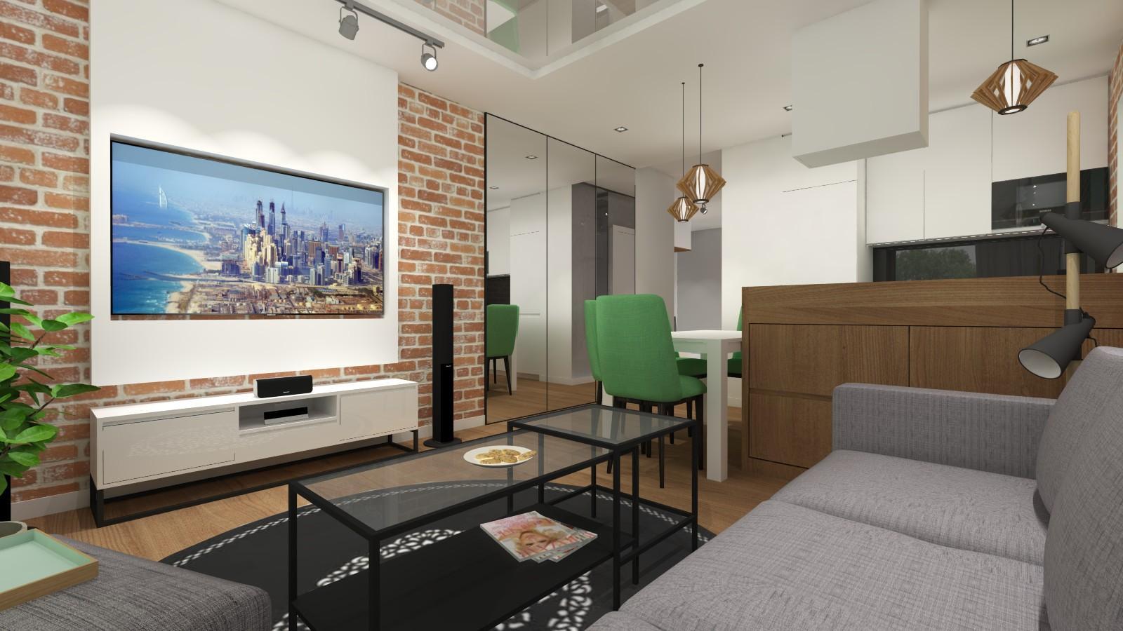 salon z aneksem, wysokie lustra na ścianie, szara kanapa, zielone dodatki, biały sufit napinany