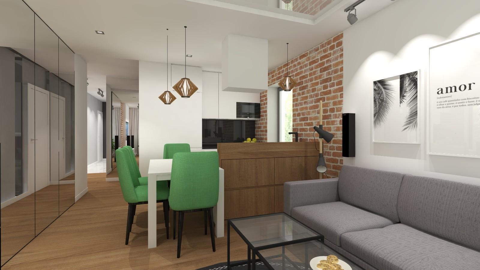 salon-z-aneksem-kuchennym-wysokimi-lustrami-z-cegla-na-scianie-biala-zabudowa-kuchenna-szara-kanapa-zielone-krzesla