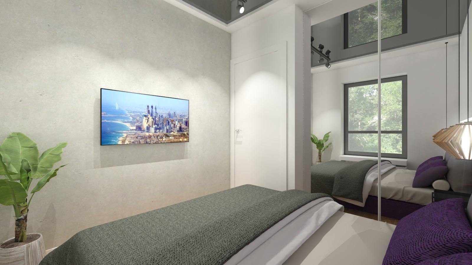 bardzo mała sypialnia bez zasłon, z czarnym sufitem napinanym, szafa z lustrami