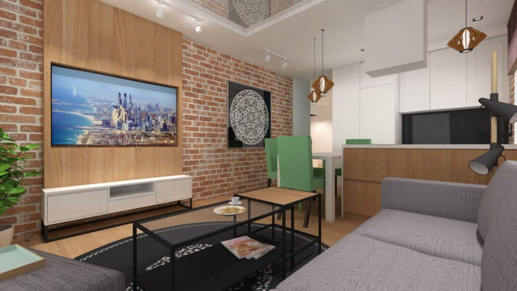 wizualizacja fotorealistyczna na salon ze ścianą z cegły
