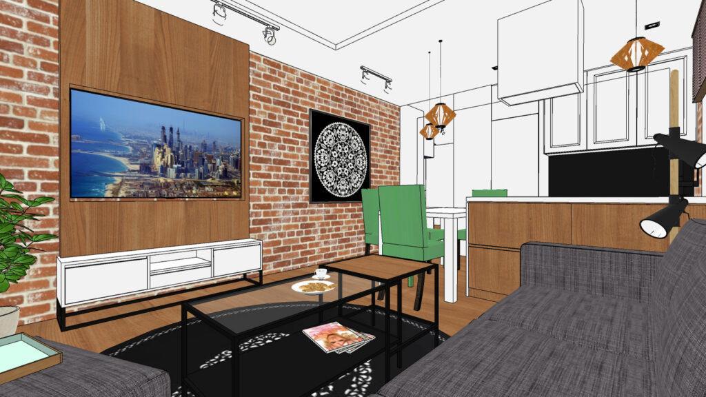 widok 3d na salon ze ścianą z cegły