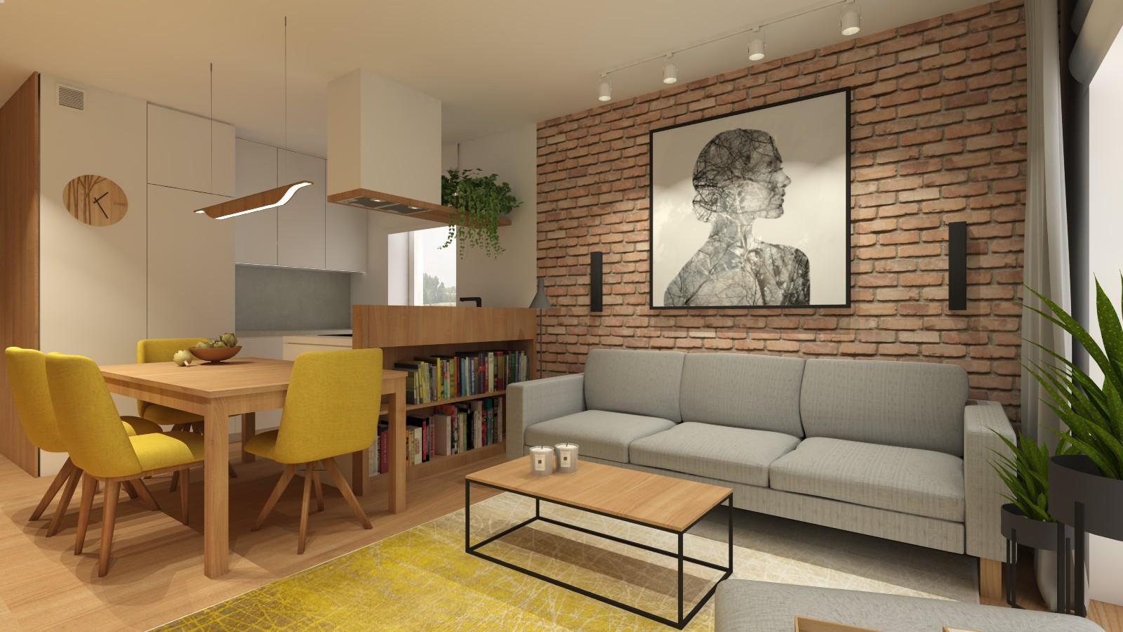 duzy-obraz-grafika-nad-szara-kanapa-styl-loftowy-jadalnia-ze-stolem-zoltymi-krzeslami