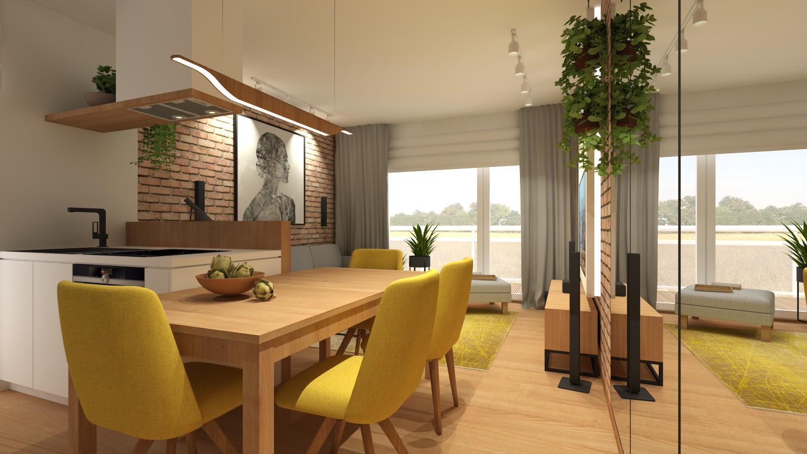 jadalnia-aneks-kuchenny-salon-w-loftowym-stylu-mieszkanie-w-bloku-stol-czterema-zoltymi-krzeslami