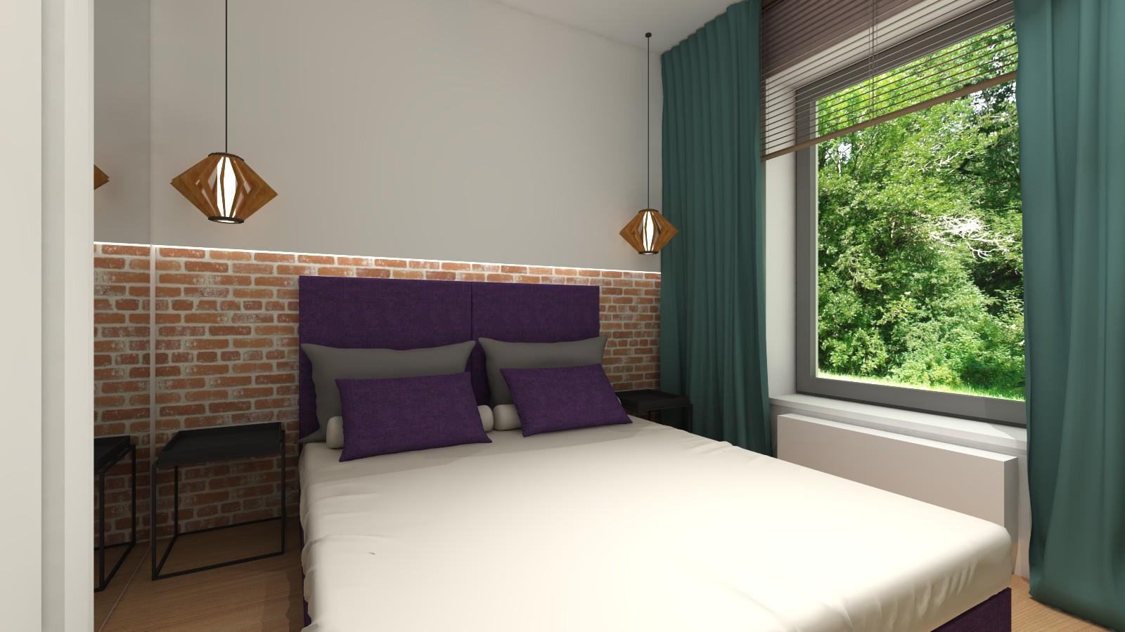 malutka-sypialnia-z-chlodnym-odcieniem-zieleni-cegla-na-scianie-zielone-zaslony