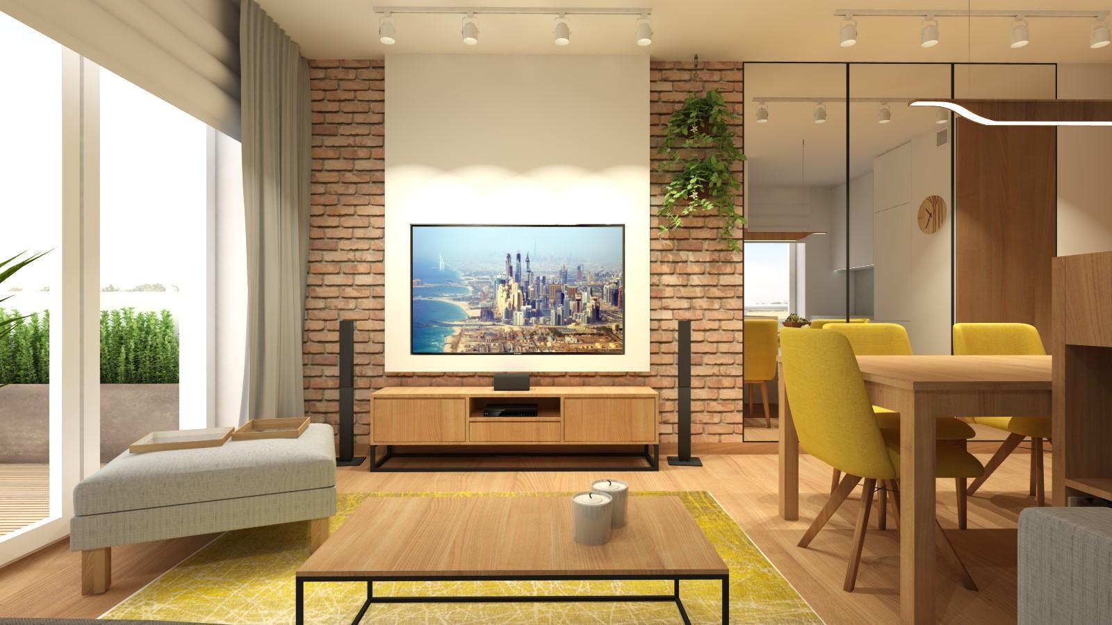 nowoczesny-salon-w-stylu-loftowym-z-zabudowa-tv-cegla-na-scianie-lustrami-aneksem-kuchennym-1