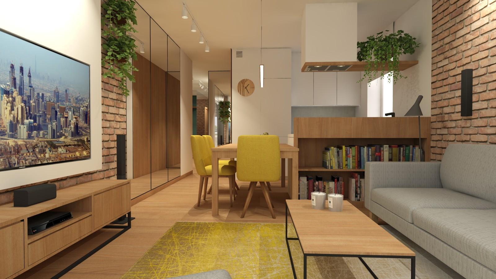 nowoczesny-salon-w-stylu-loftowym-z-zabudowa-tv-cegla-na-scianie-lustrami-aneksem-kuchennym