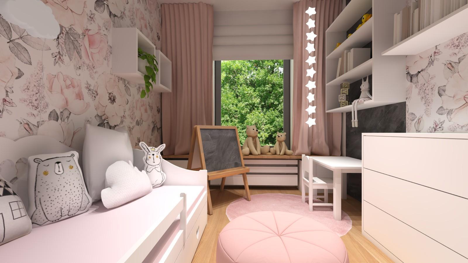 pokoj-dziewczynki-rozowe-motywy-biala-szafa-polki-lozko-z-szufladami-1