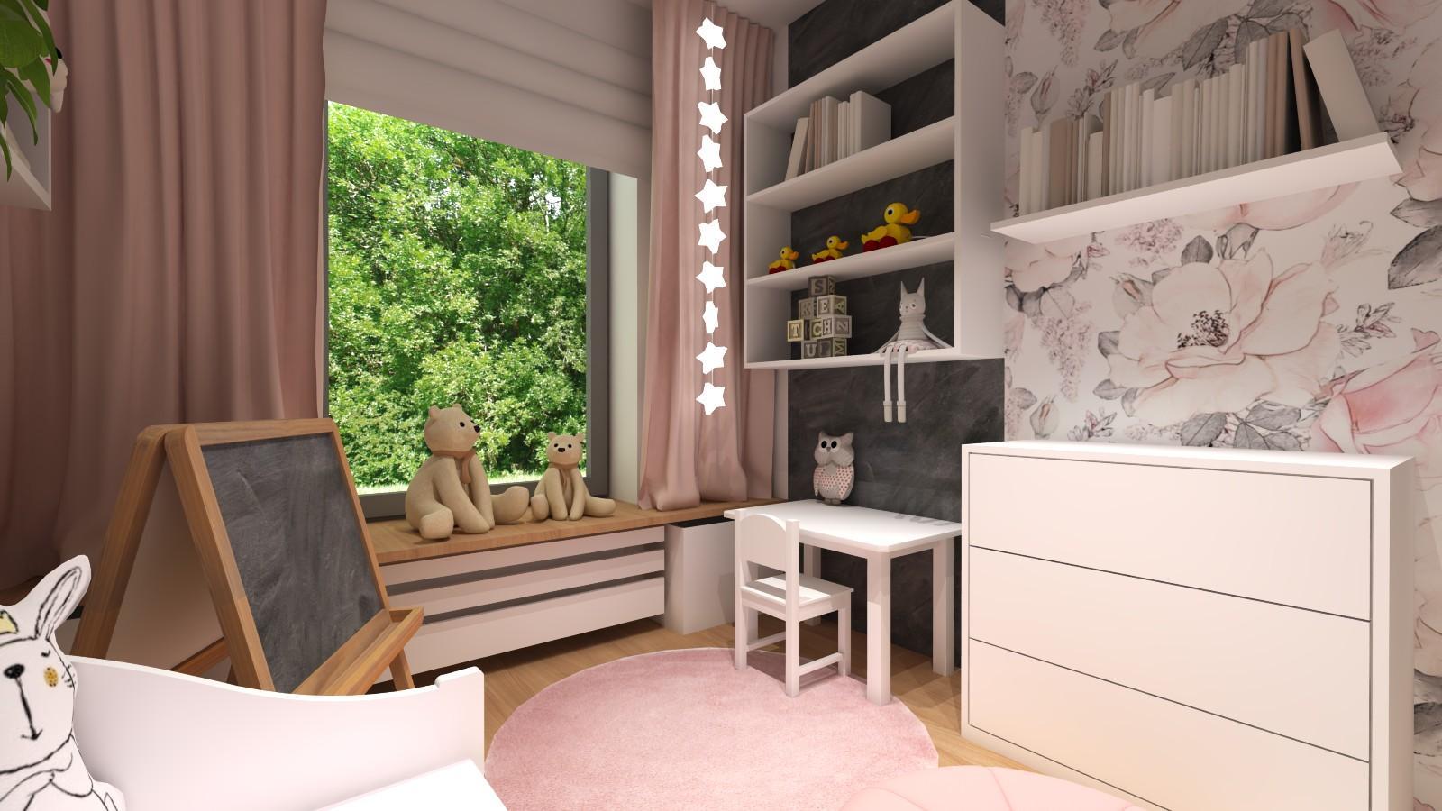 pokoj-dziewczynki-rozowe-motywy-biala-szafa-polki-lozko-z-szufladami-2