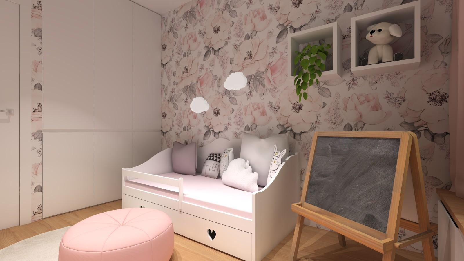 pokoj-dziewczynki-rozowe-motywy-biala-szafa-polki-lozko-z-szufladami